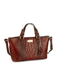 Brahmin Multicolor Mini Asher Embossed Leather Satchel Bag