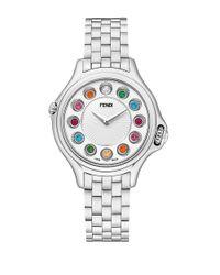 Fendi | Metallic Crazy Carats Diamond, Multicolor Topaz & Stainless Steel Small Bracelet Watch/white | Lyst