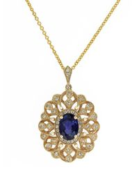 Effy Blue 14K Yellow Gold Sapphire And Diamond Pendant Necklace