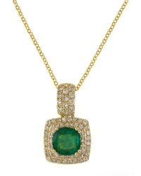 Effy | Green 14k Yellow Gold Emerald And Diamond Pendant Necklace | Lyst