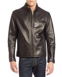 Cole Haan | Black Lambskin Leather Moto Jacket for Men | Lyst