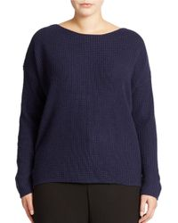 Lord & Taylor - Blue Plus Wool Blend Waffle Knit Sweater - Lyst