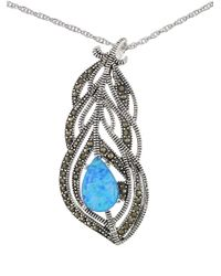 Lord & Taylor - Blue Sterling Silver And Faux Opal Feather Necklace - Lyst