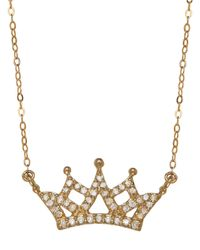 Lord & Taylor | Metallic 14k Yellow Gold Diamond Crown Necklace | Lyst
