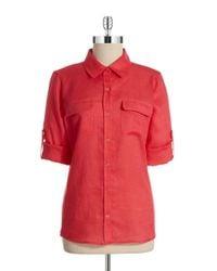 Calvin Klein | Red Linen Roll Sleeve Blouse | Lyst