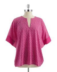 N Natori | Pink Chiyo Geometric Top | Lyst