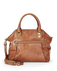 Elliott Lucca | Brown Perforated Leather Satchel | Lyst