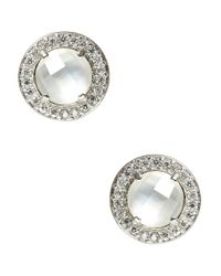 Nadri   Metallic Mother-of-pearl And Sterling Silver Stud Earrings   Lyst