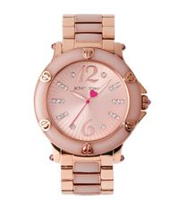 Betsey Johnson - Pink Rose Gold Stainless Steel Bracelet Watch - Lyst