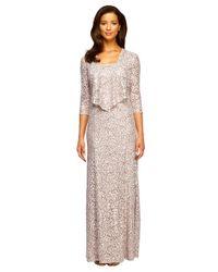 Alex Evenings Metallic Plus Lace Gown And Jacket Set