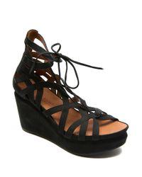 Gentle Souls | Black Joy Nubuck Leather Platform Wedge Sandals | Lyst