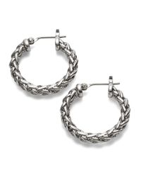 Lauren by Ralph Lauren | Metallic Small Braided Hoop Earrings - 0.75 In. | Lyst
