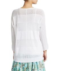 Lord & Taylor White Striped Knit Pullover