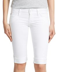 Hudson - White Cuffed Bermuda Jean Shorts - Lyst
