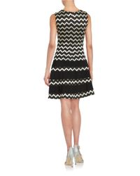 Betsy & Adam Black Metallic Zig-zag Striped Dress