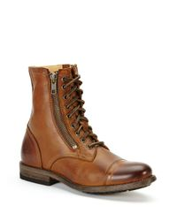 Frye Brown Tyler Double Zip Leather Boots