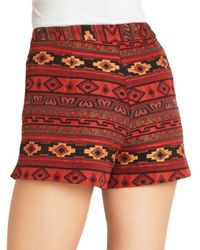 BCBGeneration Red Jacquard Shorts