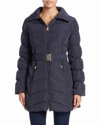 Laundry by Shelli Segal - Blue Convertible Faux Fur-trimmed Belted Coat - Lyst