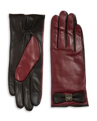 Kate Spade | Multicolor Colorblock Leather Tech-friendly Gloves | Lyst