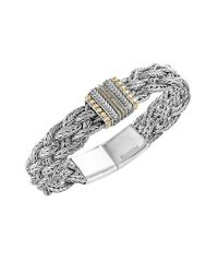 Effy | Metallic 925 Sterling Silver, 18k Yellow Gold And Diamond Tennis Bracelet | Lyst