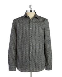 Perry Ellis | Brown Patterned Cotton Sportshirt for Men | Lyst
