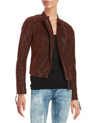 Free People   Brown Faux Leather Moto Jacket   Lyst