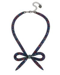 Betsey Johnson - Blue Mesh Bow Frontal Necklace - Lyst
