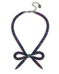 Betsey Johnson | Blue Hematite-tone Mesh Bow Collar Necklace | Lyst