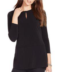 Lauren by Ralph Lauren | Black Jersey Top | Lyst
