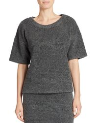 424 Fifth | Gray Boxy Blanket Knit Pullover | Lyst