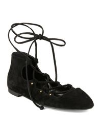 French Connection - Black Kamilla Suede Lace-up Ballet Flats - Lyst