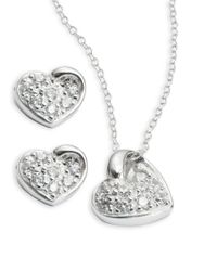 Lord & Taylor | Metallic Cubic Zirconia Stud And Pendant Necklace Set | Lyst