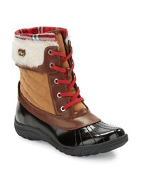 Anne Klein - Brown Grania Faux Fur-trimmed Snow Boots - Lyst