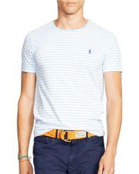Polo Ralph Lauren   Blue Striped Jersey Crewneck for Men   Lyst