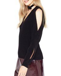 Miss Selfridge - Black Ribbed Knit Cold Shoulder Pullover - Lyst