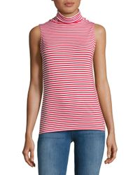 Michael Kors | Red Sleeveless Turtleneck Striped Top | Lyst