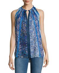 Elie Tahari | Blue Bessie Sleeveless Floral-print Blouse | Lyst