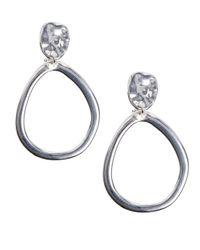 Anne Klein | Metallic Drop Clip Silvertone Drop Earrings | Lyst