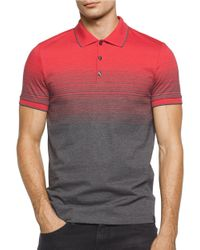 Calvin Klein | Red Slim Fit Two Tone Liquid Jersey Polo for Men | Lyst