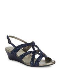 Bandolino | Blue Gomeisa Embellished Wedge Sandals | Lyst