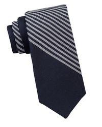 Calvin Klein | White Striped Cotton And Silk Tie for Men | Lyst