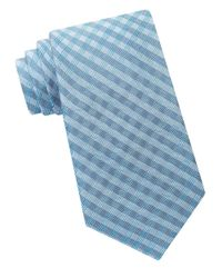 Calvin Klein | Blue Silk Blend Checkered Tie for Men | Lyst