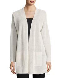 Eileen Fisher White Organic Linen Blend Long Cardigan
