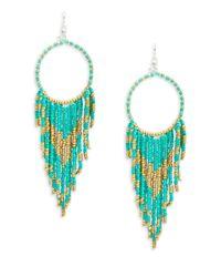 Lord & Taylor | Green Asymmetrical Fringe Drop Earrings | Lyst