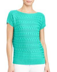 Lauren by Ralph Lauren - Blue Petite Interlock Patterned Sweater - Lyst