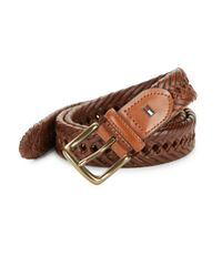 Tommy Hilfiger | Brown Braided Leather Belt for Men | Lyst