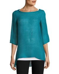 Eileen Fisher | Blue Solid Hi-lo Top | Lyst