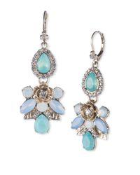 Marchesa - Metallic Floral Pattern Cluster Drop Earrings - Lyst