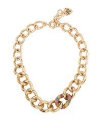 Betsey Johnson | Metallic Rainbow Connection Pave Chain Link Necklace | Lyst