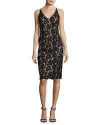Vince Camuto | Black Floral Lace Sheath Dress With Scarf | Lyst